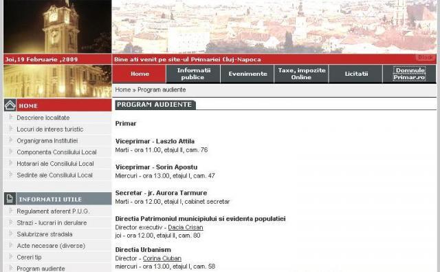 Site-ul Primăriei Cluj-Napoca nu este la zi