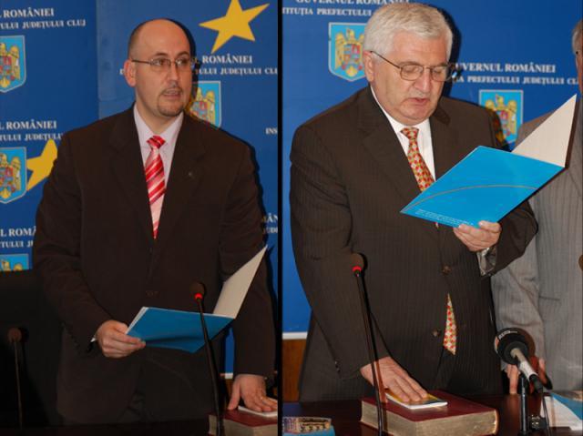 Mircea Jorj (dreapta) şi Vasile Cozma au fost numiţi subrefecţi