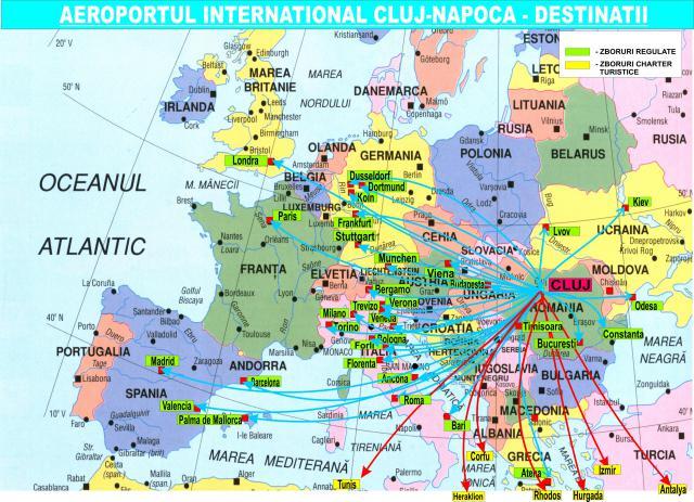 Hartă destinaţii de pe Aeroportul Internaţional Cluj-Napoca