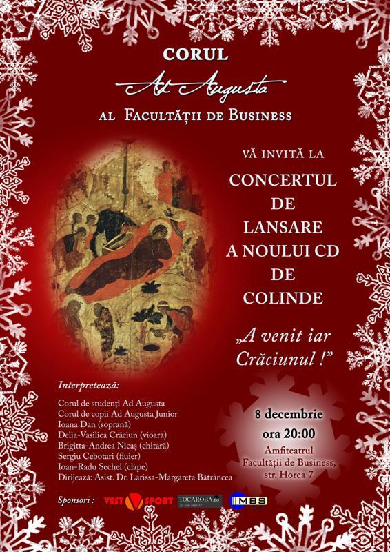"""Concert caritabil al corului """"Ad Augusta"""""""