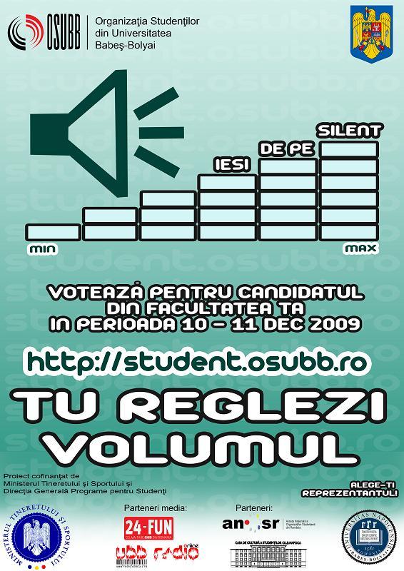 """Organizaţia Studenţilor din Universitatea """"Babeş-Bolyai"""" (OSUBB) derulează în perioada 7 -11 decembrie faza a doua a proiectului """"Alege-ţi reprezentantul!"""""""