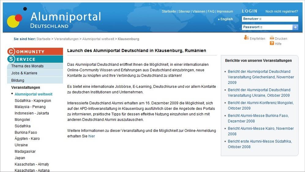 Alumniportal Deutschland, cel mai nou proiect de informare și comunicare destinat persoanelor care au studiat, cercetat sau lucrat în Germania, va fi lansat și la Cluj