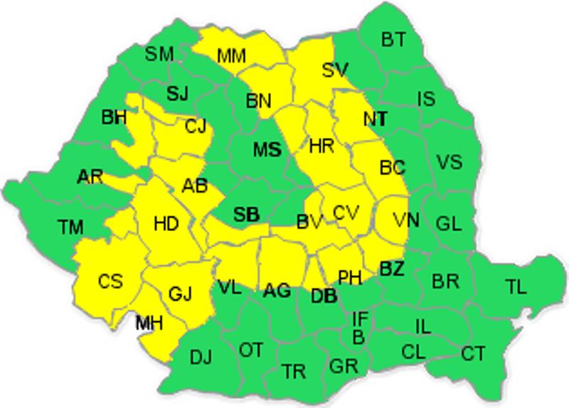 Cod galben de ninsori pentru sud-vestul ţării şi zona de munte