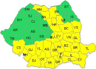 Cod galben de ninsoare pentru sudul și estul țării