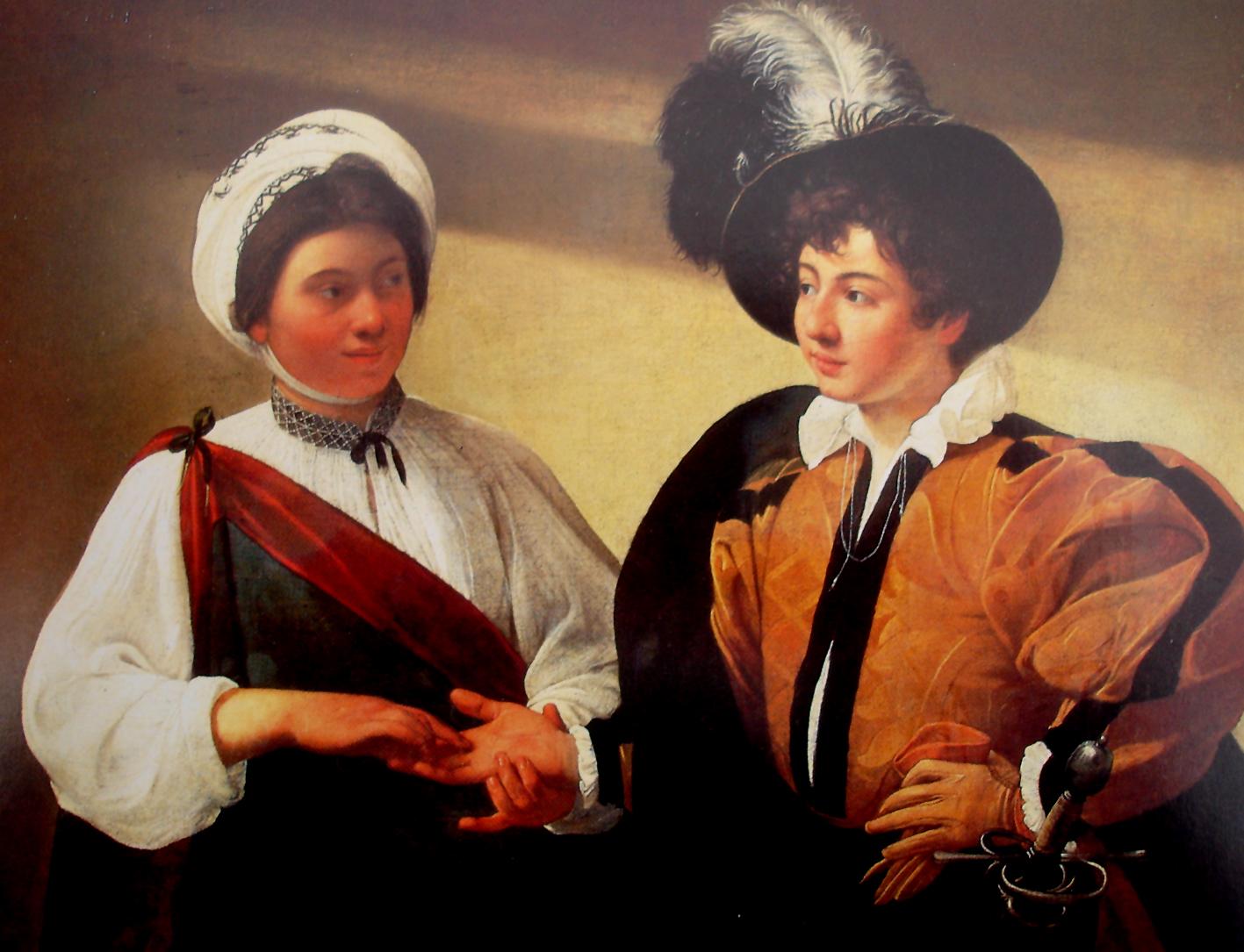 reproducerea tabloului Ghicitoarea de la Muzeul Luvru
