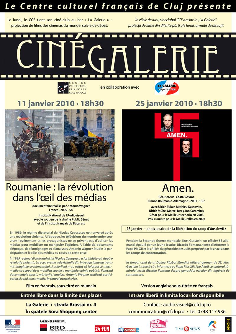 """Centrul Cultural Francez din Cluj vă invită și în 2010 la film. În zilele de luni vor avea loc în cafeneaua """"La Galerie"""" proiecții de filme din diferite părți ale lumii, care vor fi urmate de discuții"""