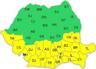 Cod galben de ninsori pentru 21 de judeţe şi Bucureşti