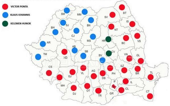 harta rezultate alegeri tur 1