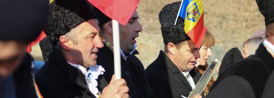 Un grup din Maramureș a participat în număr restrâns la paradă, doar 3 persoane, la fel ca acum 100 de ani, când se semnase actul unirii la Alba Iulia
